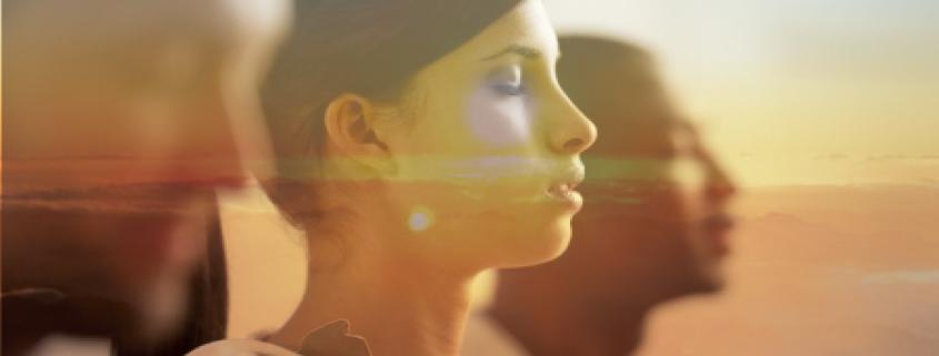 woman and students meditating